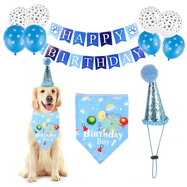 Dog Cat Bandanas & Hats Dog Bandana & Dog Hat Dog Bandana Cartoon Letter & Number Party Cute Christmas Party Dog Clothes Adjustable Blue Costume Cotton Polyster / Birthday / Birthday