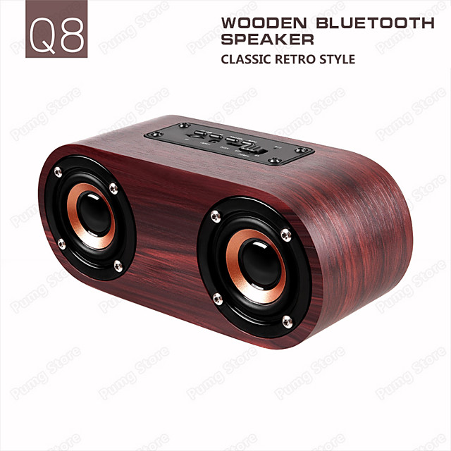 Q8 Wireless Speaker Double Horn Bluetooth 4.2 Support AUX Cable Connection and TF Card Playback for Smartphone /Tablet PC / MP3