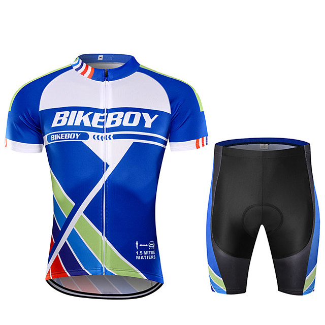 BIKEBOY Men's Short Sleeve Cycling Jersey Cycling Shorts Blue Bike Quick Dry Sports Mountain Bike MTB Road Bike Cycling Clothing Apparel / Stretchy