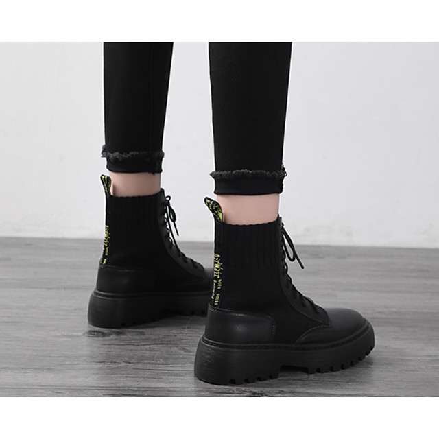 Women's Boots Flat Heel Round Toe Casual Basic Daily PU Mid-Calf Boots Walking Shoes Black / Yellow