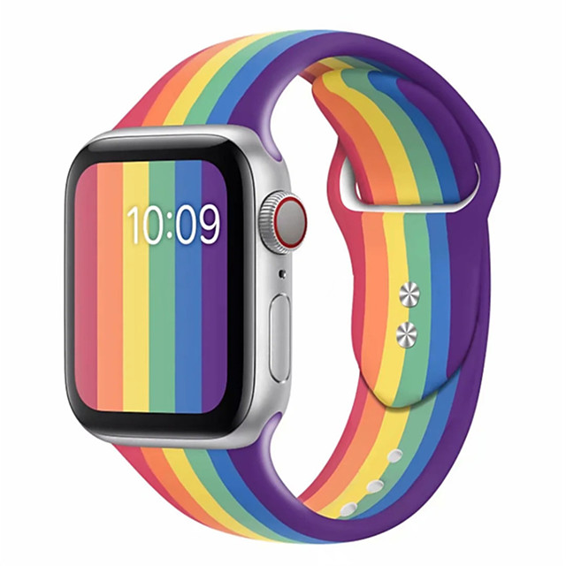Sport band for apple watch series 5 4 3 2 1 with pin&tuck closure Silicone strap for iWatch replacement 2020 Pride edition Rainbow
