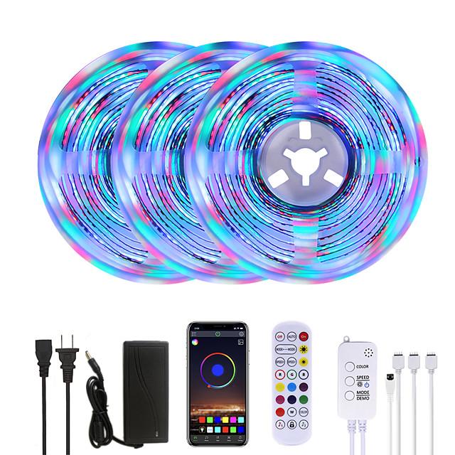 Bright RGBW LED Strip Lights 15M Music Sync Smart LED Lights Tiktok Lights 3510LEDs SMD 2835 Color Changing with 24 keys Remote Bluetooth Controller for Home Bedroom TV Back Lights DIY Deco