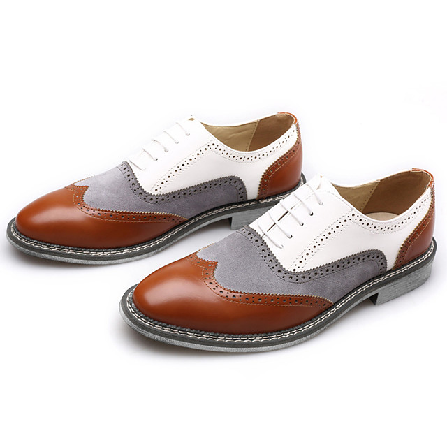 Men's Summer / Fall British Office & Career Oxfords Faux Leather Non-slipping Wear Proof White / Black / Yellow