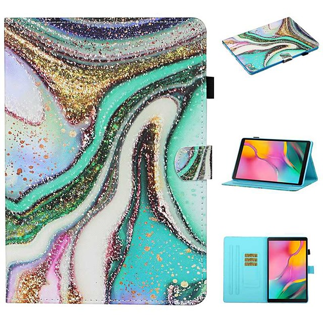 Case For Samsung Galaxy  Tab A 10.1(2019)T510 Tab A 8.0(2019)T290 295  Tab S6 Lite (SM-P610 615) Card Holder with Stand Flip Full Body Cases Scenery PU Leather