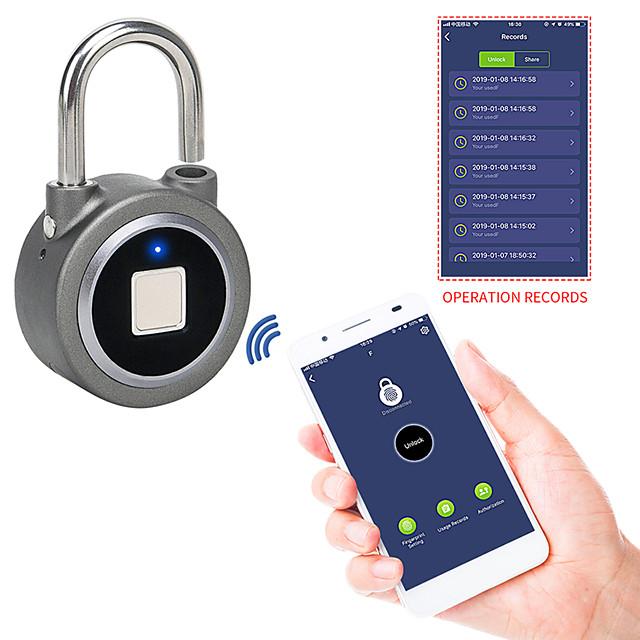 Fingerprint Padlock Bluetooth Smart Electric Door Lock Locker Rechargeable Battery Anti-Theft Security for House