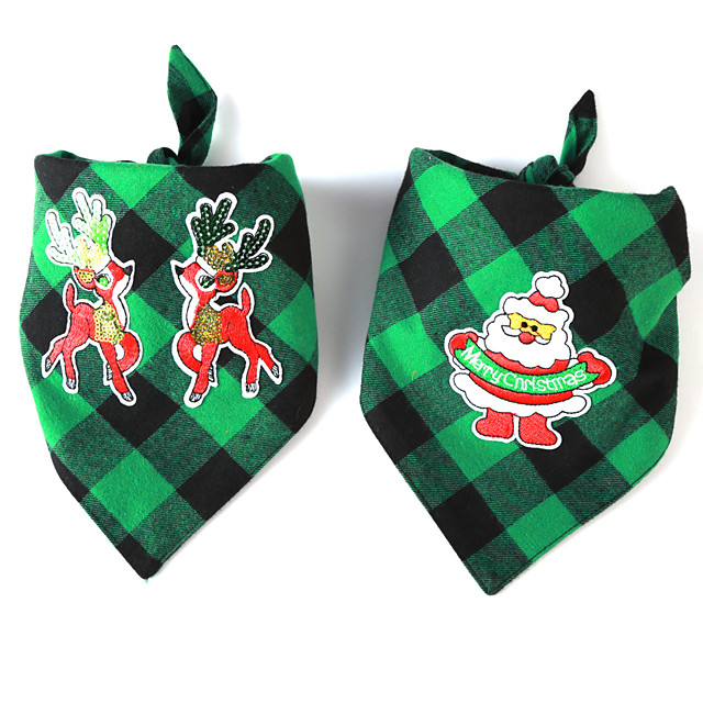 Dog Cat Bandanas & Hats Dog Bandana Dog Bibs Scarf Plaid / Check Cartoon Reindeer Party Cute Christmas Party Dog Clothes Adjustable Costume Fabric L