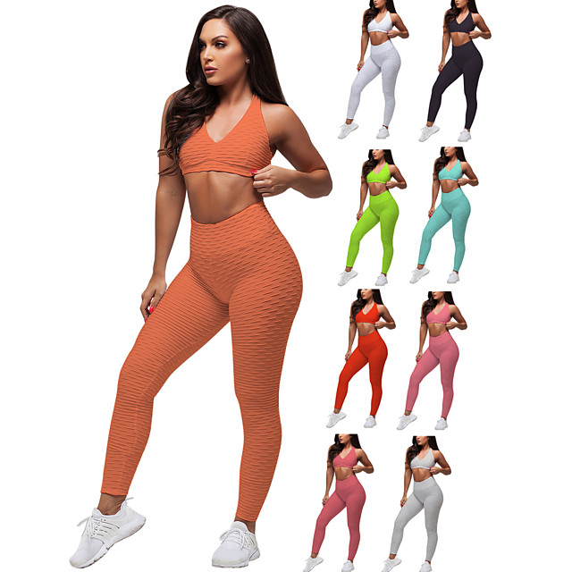 Women's 2 Piece Tracksuit Yoga Suit Ruched Butt Lifting White Black Red Spandex Fitness Gym Workout Running High Waist Leggings Bra Top Sport Activewear Tummy Control Butt Lift 4 Way Stretch