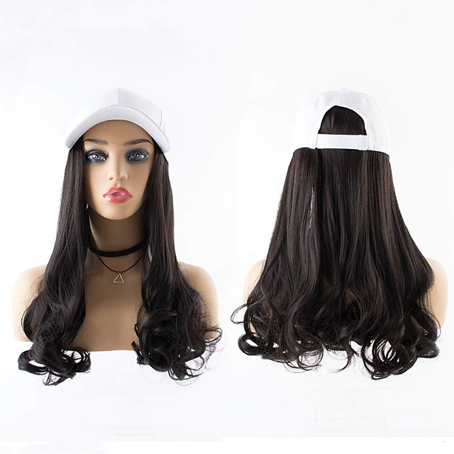 Synthetic Wig Curly Wavy With Ponytail Wig Long Dark Brown Brown Black Synthetic Hair 22 inch Women's Fashionable Design Creative New Arrival Black Brown
