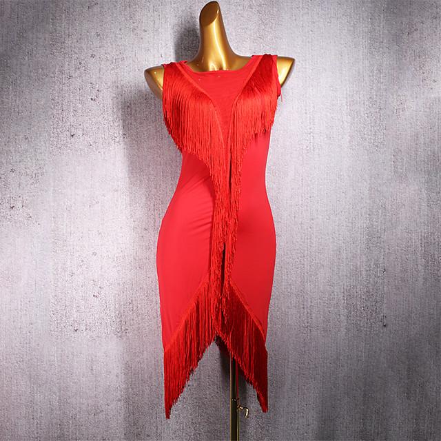 Latin Dance Dress Tassel Women's Performance Sleeveless Spandex