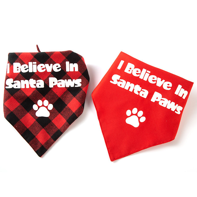 Dog Cat Bandanas & Hats Dog Bandana Dog Bibs Scarf Plaid / Check Letter & Number Party Cute Christmas Party Dog Clothes Adjustable Costume Fabric L