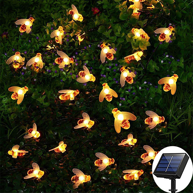 12M 100LED Solar Bee LED Light String Fairy String Lights Outdoor String Lights 8 Function Outdoor Waterproof For Wedding Garden Lawn Christmas Decoration Solar Lamp