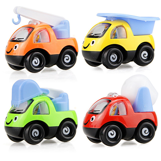 Toy Car Vehicle Playset Pull Back Car / Inertia Car Mini Truck Police car Cartoon Toy Colorful Plastic Mini Car Vehicles Toys for Party Favor or Kids Birthday Gift 6 pcs