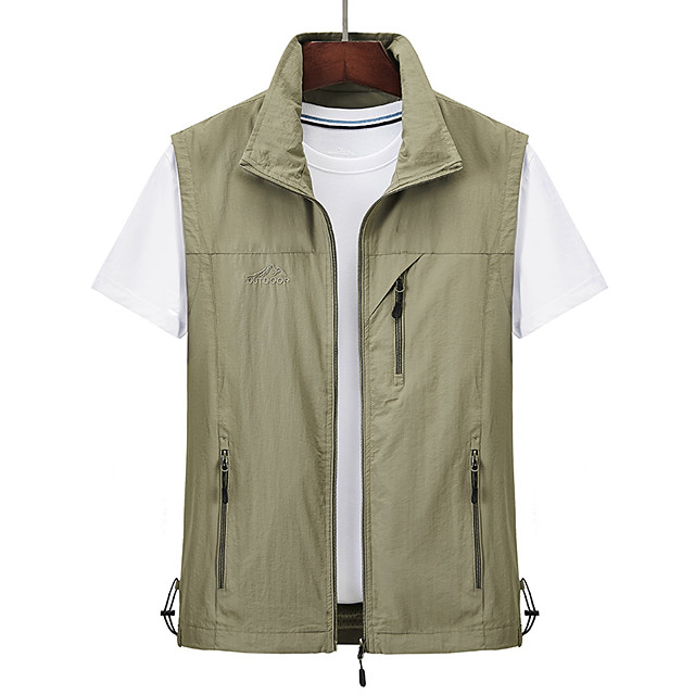 Men's Hiking Vest / Gilet Summer Outdoor Solid Color Windproof Breathable Quick Dry Multi Pocket Top Camping / Hiking Hunting Fishing Black / Red / Army Green / Grey / Khaki