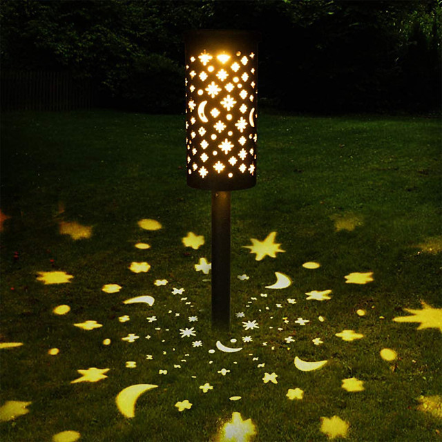 4X LED Solar Torch Light Colorful Waterproof Ring Led Light In-Ground Outdoor