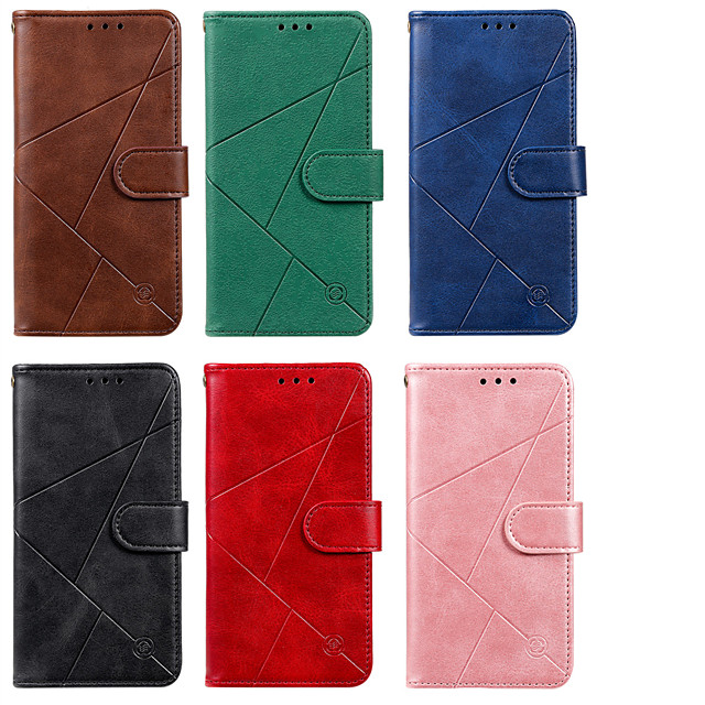 Case For Nokia Nokia 3.2 2.2 7.2 Card Holder Flip Pattern Full Body Cases PU Leather TPU Lines Solid Colored Geometric Pattern Magnetic