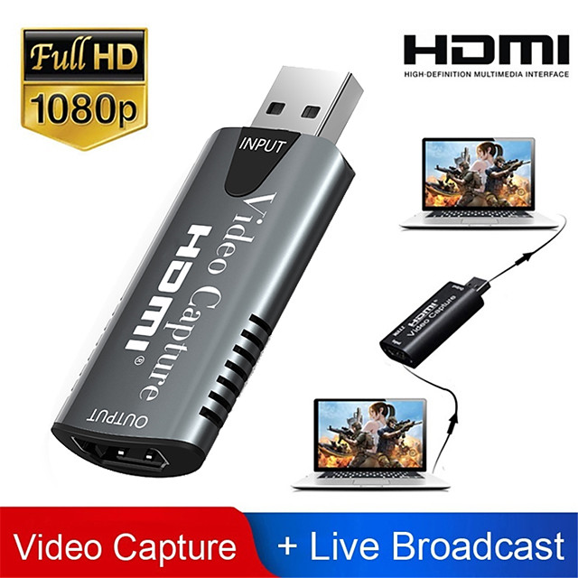 HDMI Adapter Video Capture Card USB 2.0 DVD Camcorder HD Camera Recording Live Streaming