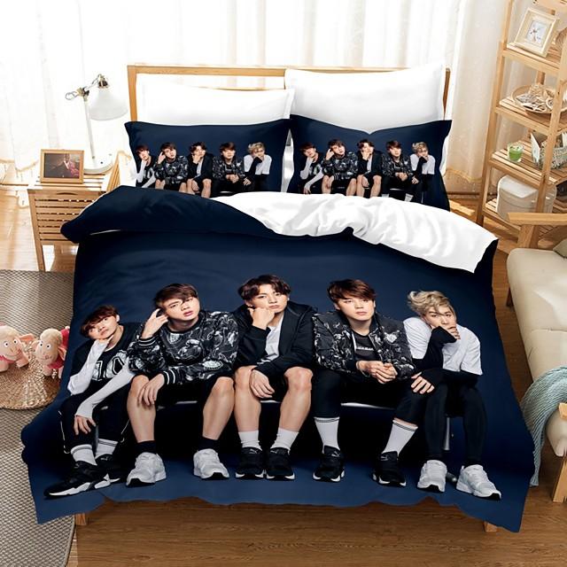 BTS Home Textiles 3D Bedding Set Duvet Cover with Pillowcase 2/3pcs Bedroom Duvet Cover Sets  Bedding BTS