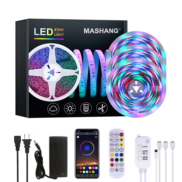 MASHANG Bright RGBW LED Strip Lights Waterproof 15M Music Sync Smart LED Tiktok Lights 3510LEDs 2835 Color Changing with 24 keys Remote Bluetooth Controller for Home Bedroom TV Back Lights DIY Deco