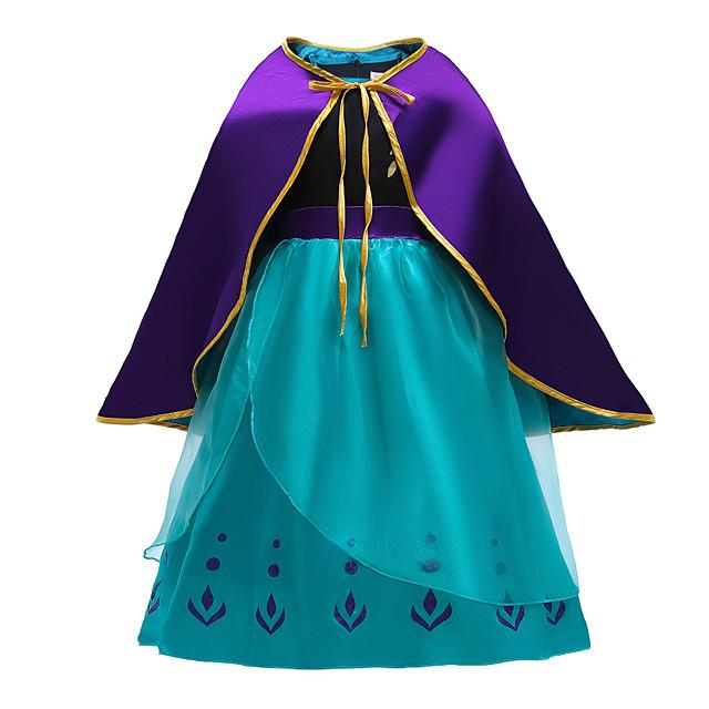 Anna Dress Cosplay Costume Girls' Movie Cosplay Halloween Blue Dress Cloak Christmas Halloween New Year Polyester / Cotton