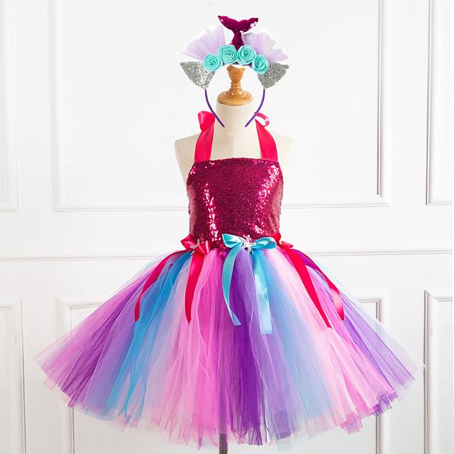 Princess Dress Girls' Movie Cosplay Vacation Dress New Year's Purple / Fuchsia / Green Dress Headwear Christmas Halloween Carnival Polyester / Cotton Polyester