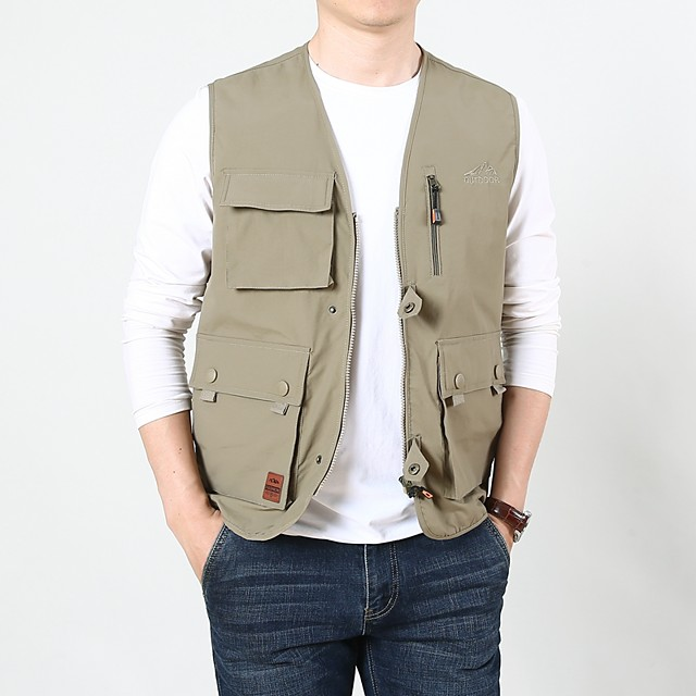 Men's Hiking Vest / Gilet Summer Outdoor Solid Color Windproof Breathable Quick Dry Multi-Pocket Top Camping / Hiking Hunting Fishing Black / Army Green / Blue / Khaki / Multi Pocket
