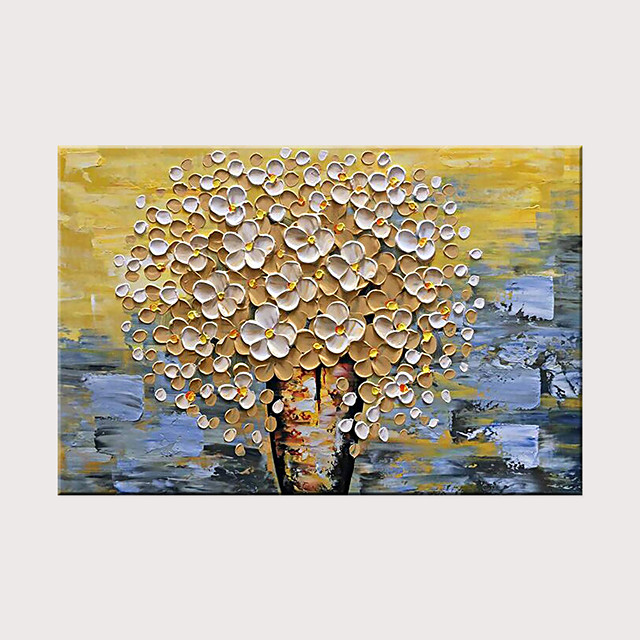 Hand Painted Canvas Oil Painting White Flower Painting Modern Home Interior Decoration Abstract Wall Art Rolled Without Frame