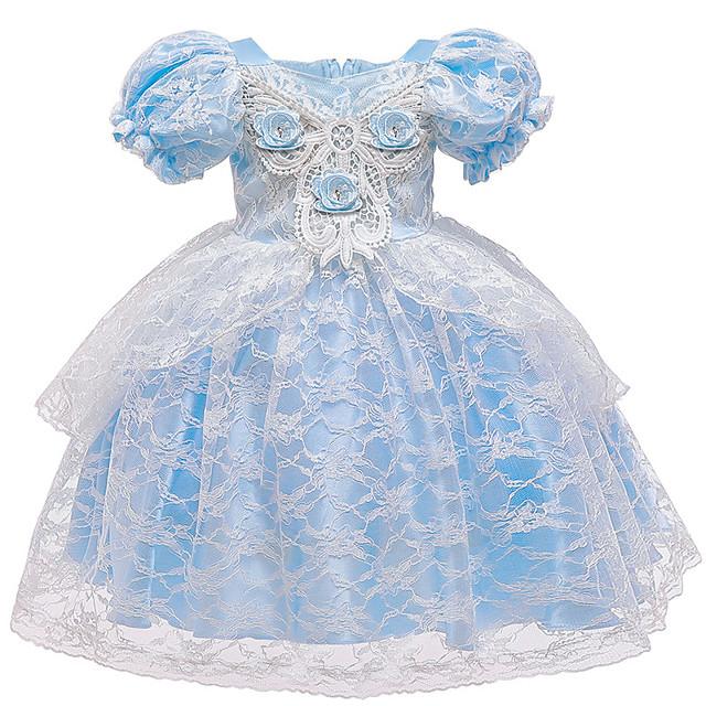 Cinderella Princess Elsa Dress Flower Girl Dress Girls' Movie Cosplay A-Line Slip Blue Dress Halloween Children's Day Masquerade Polyester