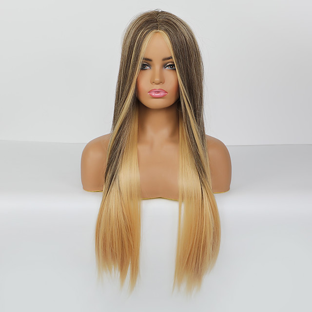 Synthetic Wig Body Wave Deep Wave Layered Haircut Deep Parting Wig Long sepia Synthetic Hair 26 inch Women's Adorable Ombre Hair Middle Part Brown