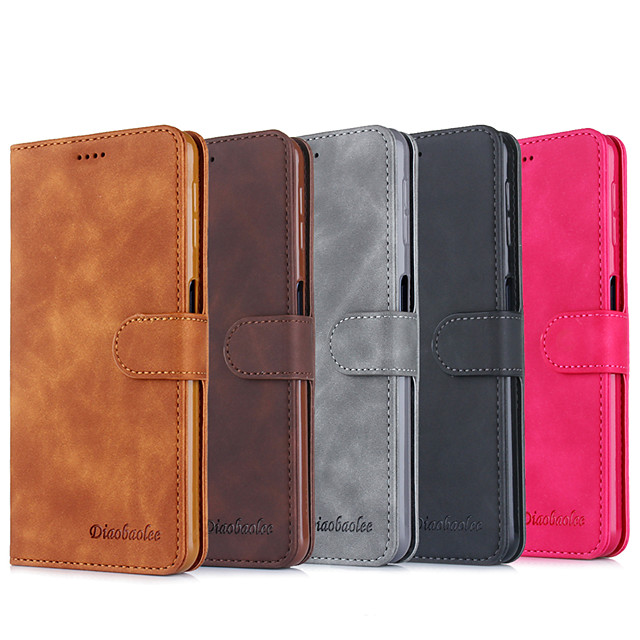 Case For Samsung Galaxy S9 S9 Plus S8 Plus Card Holder Flip Full Body Cases Solid Colored PU Leather