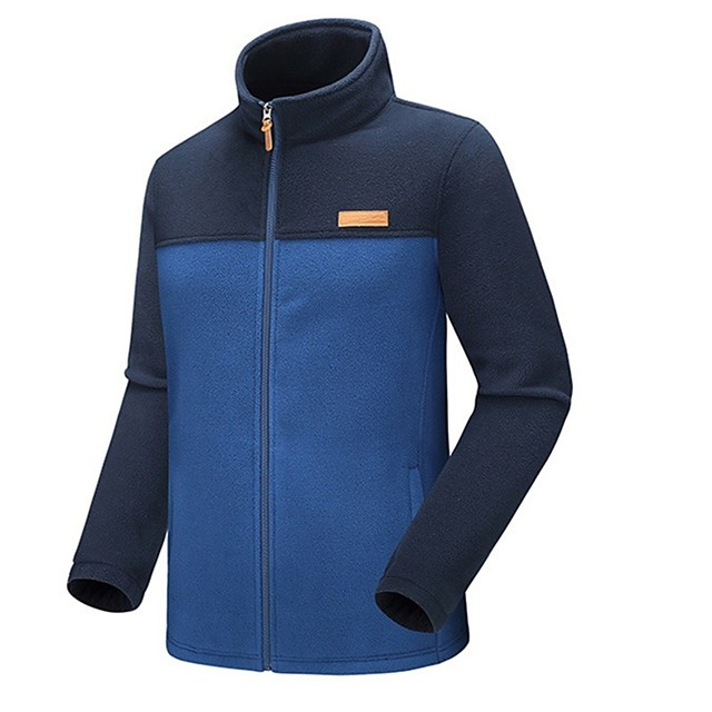 Men's Hiking Jacket Hiking Fleece Jacket Winter Outdoor Patchwork Thermal / Warm Windproof Breathable Warm Winter Jacket Top Full Length Visible Zipper Hunting Fishing Climbing Blue / Grey