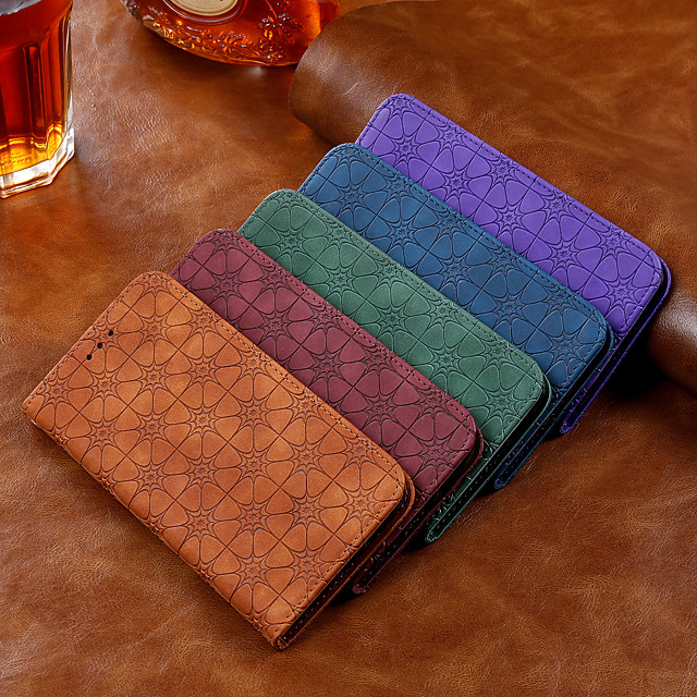 Case For Samsung Galaxy Galaxy Note 10 / Galaxy Note 10 Plus Wallet / Card Holder / Flip Full Body Cases Solid Colored / Flower PU Leather