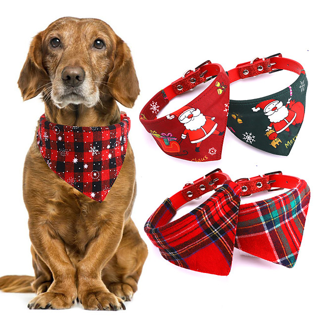 Dog Cat Bandanas & Hats Dog Bandana Dog Bibs Scarf Plaid / Check Cartoon Party Cute Christmas Party Dog Clothes Adjustable Costume Cotton Polyster S M