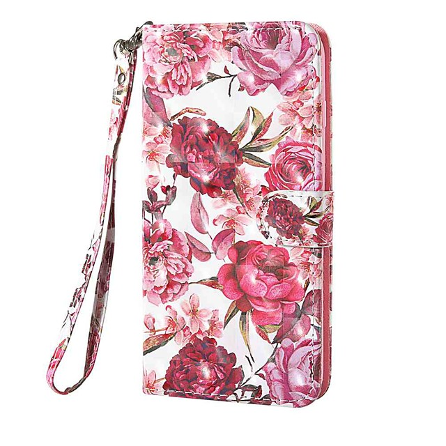 Case For Nokia Nokia 1.3 Nokia 2.3 Nokia 3.2 Wallet Card Holder with Stand Full Body Cases Little Red Flower PU Leather TPU for Nokia 6.2 Nokia 7.2