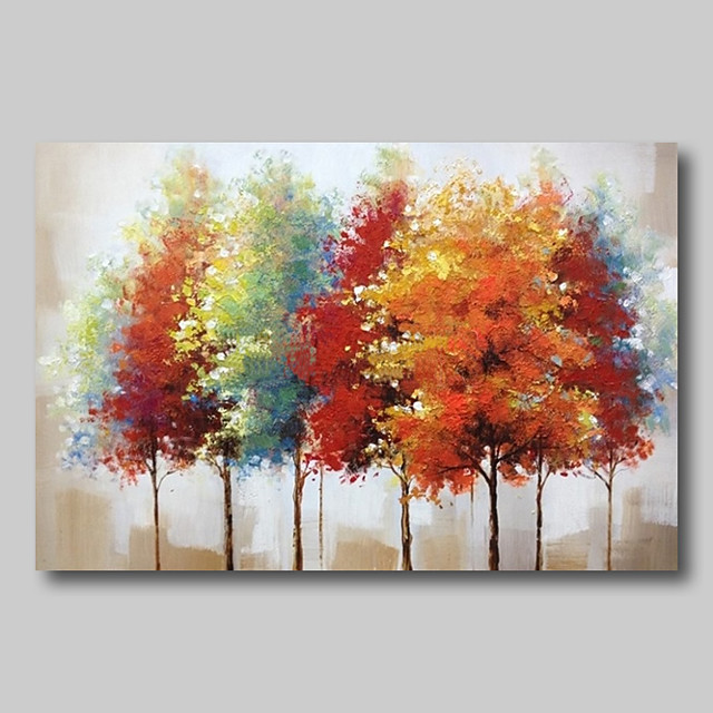 Oil Painting Hand Painted - Abstract Abstract Landscape Comtemporary Modern Rolled Canvas Colourful Trees
