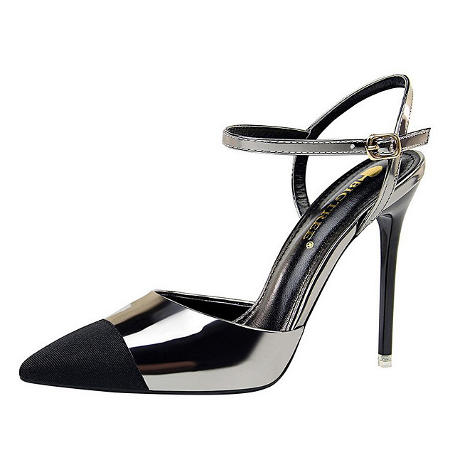 Women's Sandals Summer Stiletto Heel Pointed Toe Daily PU Black / Silver / Black / Champagne