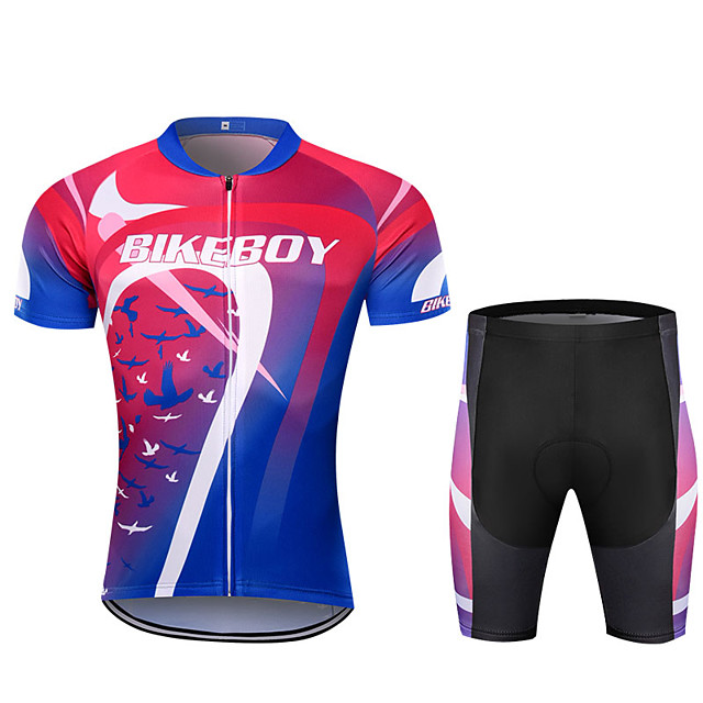 BIKEBOY Men's Short Sleeve Cycling Jersey Cycling Shorts Red+Blue Bike Quick Dry Sports Mountain Bike MTB Road Bike Cycling Clothing Apparel / Stretchy