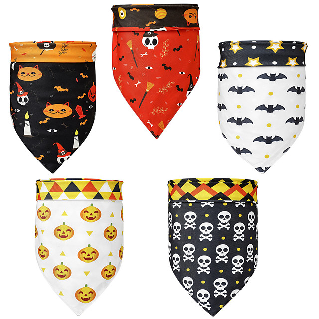Dog Cat Bandanas & Hats Dog Bandana Dog Bibs Scarf Cartoon Party Casual / Sporty Party Halloween Dog Clothes Adjustable Costume Polyster L
