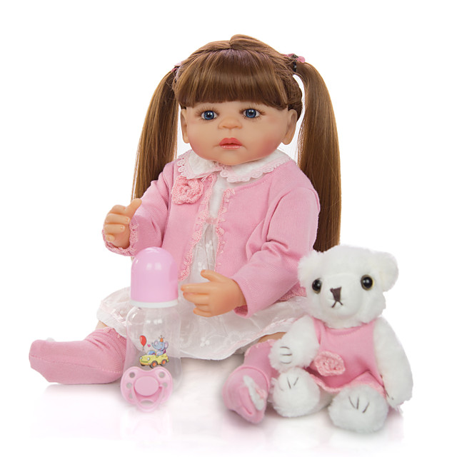 KEIUMI 22 inch Reborn Doll Baby & Toddler Toy Reborn Toddler Doll Baby Girl Gift Cute Washable Lovely Parent-Child Interaction Full Body Silicone 22D11-C116-H21-T19 with Clothes and Accessories for