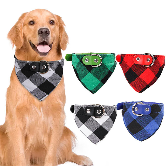 Dog Cat Bandanas & Hats Dog Bandana Dog Bibs Scarf Plaid / Check Party Cute Christmas Party Dog Clothes Adjustable Costume Fabric M L XL