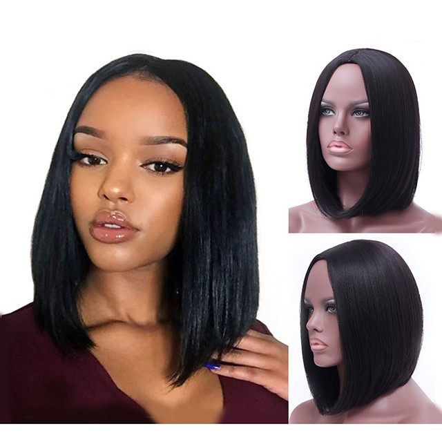 Synthetic Wig Natural Straight Bob Wig Medium Length Natural Black Synthetic Hair 14 inch Women's Fashionable Design Soft Middle Part Bob Black