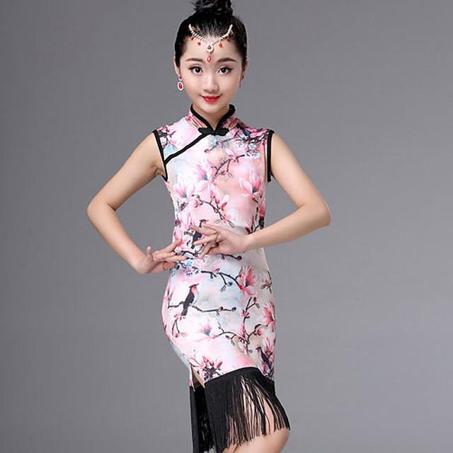 Kids' Dancewear Dress Tassel Pattern / Print Girls' Performance Daily Wear Sleeveless Ice Silk Cotton