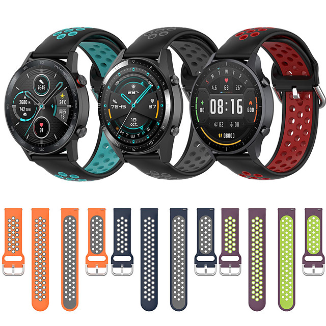 Sport Silicone Wrist Strap Watch Band for Huawei Watch GT2e / GT Active / GT2 46mm / GT2 42mm / Honor Magic Watch 2 46mm / Magic Watch 2 42mm / Watch 2 Pro Replaceable Bracelet Wristband