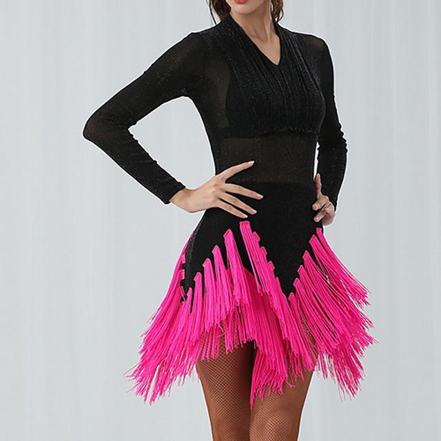 Latin Dance Dress Tassel Women's Training Performance Long Sleeve Cotton