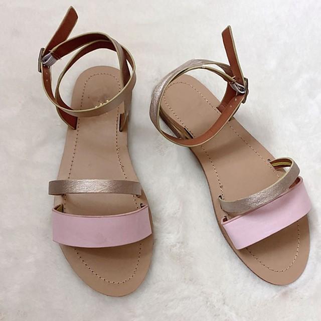 Women's Sandals Summer Flat Heel Open Toe Daily PU Black / Pink