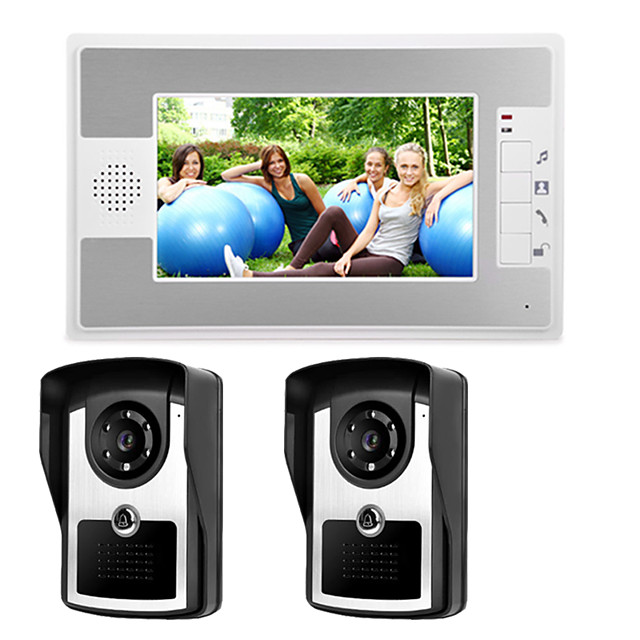 Wired 7 Inch Hands-free 800*480 Pixel Two To One Video Doorphone Intercom Infrared Night Vision Camera