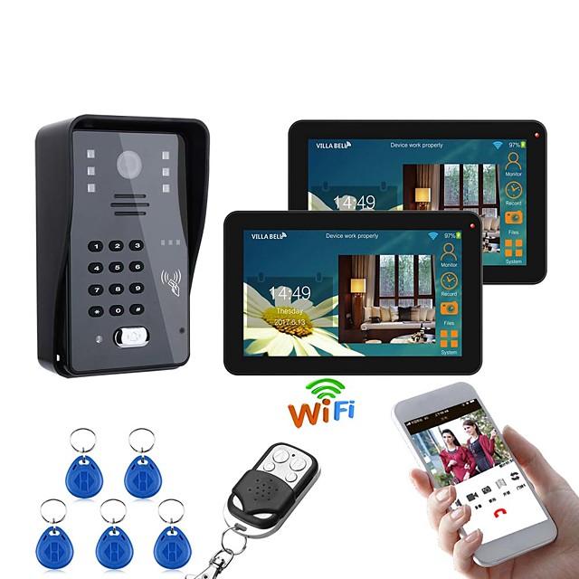 9 Inch 2 Monitors Wired / Wireless Wifi RFID Password Video Door Phone Doorbell Intercom System With IR-CUT 1000TVL Camera