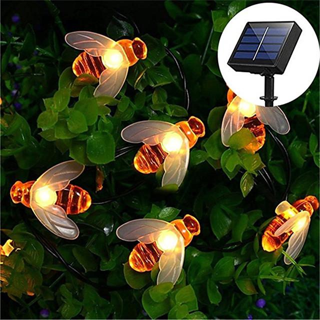 6.5M 30LED Solar Bee LED Light String Fairy String Lights Outdoor String Lights 8 Function Outdoor Waterproof For Wedding Garden Lawn Christmas Decoration Solar Lamp
