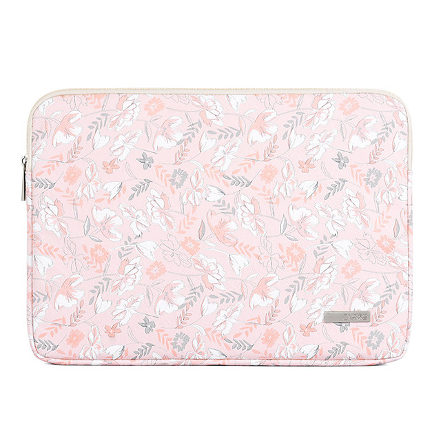 11.6 Inch Laptop / 12 Inch Laptop / 13.3 Inch / 14 Inch / 15.6 Inch Laptop Sleeve PU Leather Pink Floral Print / Printing for Women Waterpoof Shock Proof