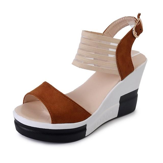 Women's Sandals Summer Wedge Heel Open Toe Daily PU Black / Yellow / Brown