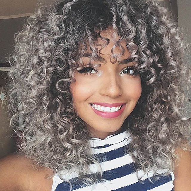 Synthetic Wig Afro Curly With Bangs Wig Long Silver grey Synthetic Hair 16 inch Women's Highlighted / Balayage Hair Exquisite Waterfall Silver